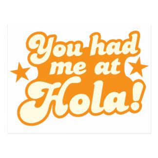 Usted me tenía en el saludo español mexicano de postal