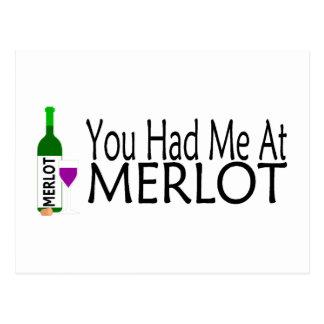 Usted me tenía en el vino del Merlot Postal