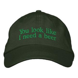 Usted mira como necesito una cerveza gorras de béisbol bordadas