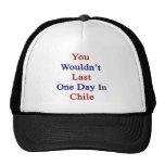 Usted no duraría un día en Chile Gorras De Camionero