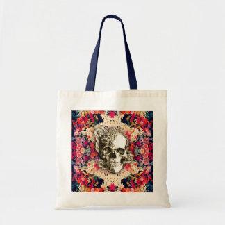 Usted no es aquí día floral del cráneo muerto bolsa tela barata