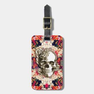Usted no es aquí el cráneo color de rosa floral Ar Etiquetas De Equipaje