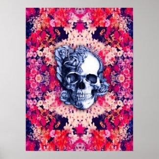 Usted no es aquí poster floral colorido del cráneo póster