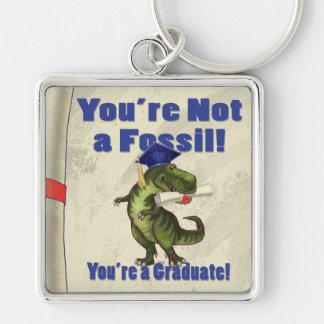 Usted no es un fósil llavero cuadrado plateado