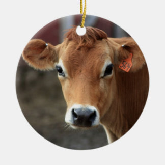 Usted no me piensa es vaca bonita del jersey adorno navideño redondo de cerámica