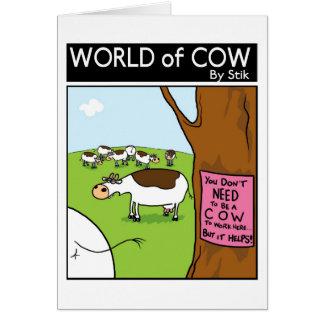 Usted no necesita ser una vaca a trabajar aquí… tarjeta de felicitación