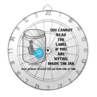 Usted no puede leer la etiqueta que se sienta tabla dardos