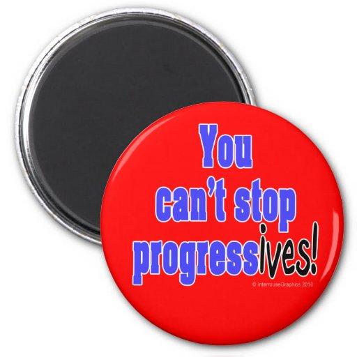 Usted no puede parar el progreso (los ives) imán redondo 5 cm