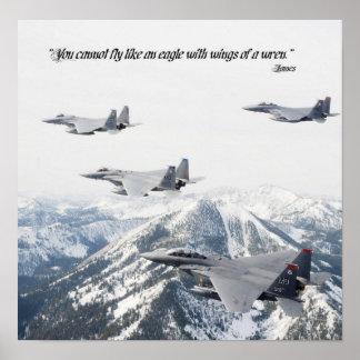 Usted no puede volar como un águila con las alas d póster