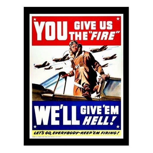 Usted nos da el fuego tarjeta postal