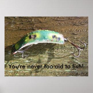 Usted nunca es demasiado viejo pescar póster