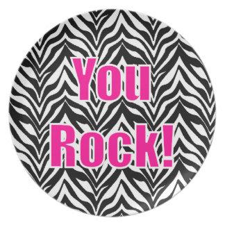 ¡Usted oscila! Estampado de zebra Plato Para Fiesta