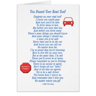 Usted pasó la prueba en carretera - nuevo tarjeta de felicitación