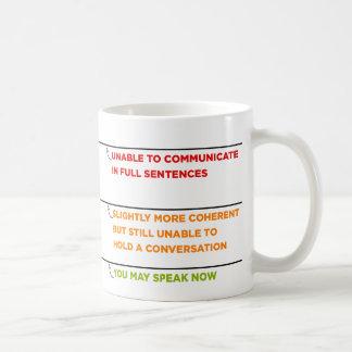 Usted puede ahora hablar asalta con las líneas del taza básica blanca