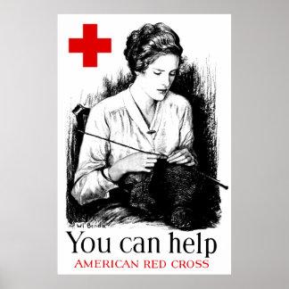 Usted puede ayudar a la Cruz Roja americana Póster