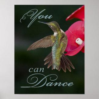Usted puede bailar el poster del colibrí póster