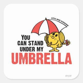 Usted puede colocarse debajo de mi paraguas calcomania cuadradas