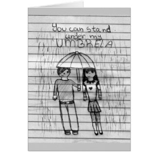 usted puede colocarse debajo de mi paraguas tarjetas