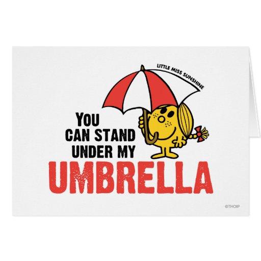 Usted puede colocarse debajo de mi paraguas tarjeton