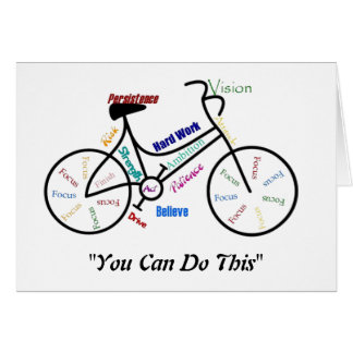 Usted puede hacer esta bici de motivación, ciclo d tarjeta de felicitación