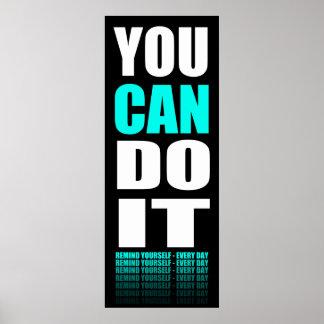 Usted puede hacerlo (aguamarina) de motivación póster
