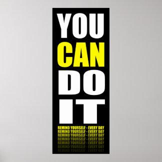 Usted puede hacerlo (amarillo) de motivación impresiones