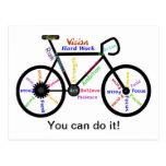 Usted puede hacerlo, bici de motivación, ciclo de  postal