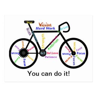 Usted puede hacerlo, bici de motivación, ciclo de  tarjetas postales