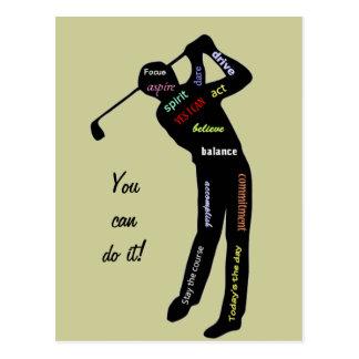 ¡Usted puede hacerlo! Golf, deporte, palabras de Tarjetas Postales