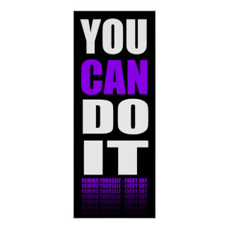 Usted puede hacerlo (púrpura) de motivación poster