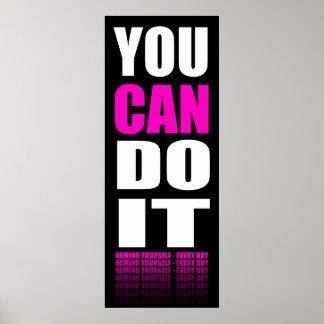 Usted puede hacerlo (rosado) de motivación impresiones