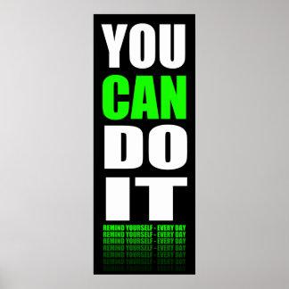 Usted puede hacerlo (verde) de motivación posters