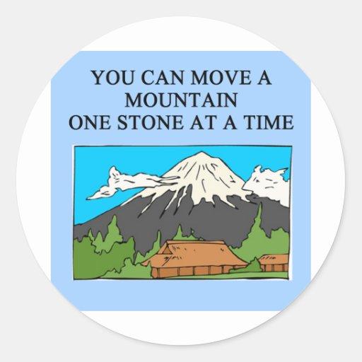 usted puede mover una montaña etiquetas redondas