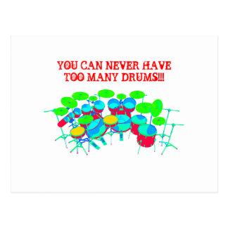 Usted puede nunca tener demasiados tambores tarjetas postales