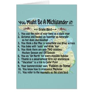 Usted puede ser que sea un Michigander si: Tarjeta De Felicitación