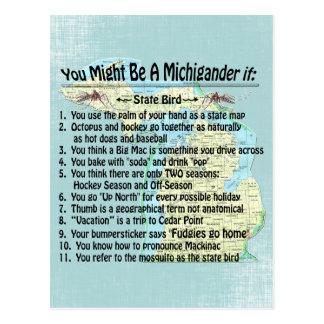 Usted puede ser que sea un Michigander si: Tarjeta Postal
