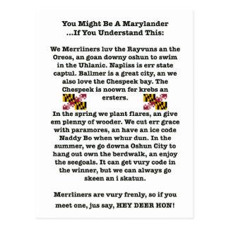 Usted puede ser que sea una postal de Marylander