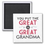 Usted puso el grande en gran abuela imán cuadrado