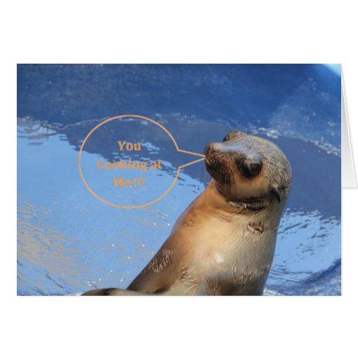 Usted que me mira tarjeta de felicitación