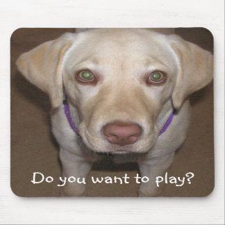 ¿Usted quiere jugar? Laboratorio amarillo Mousepad