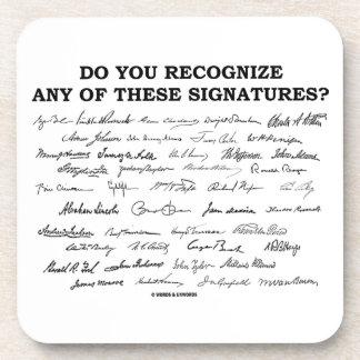 ¿Usted reconoce ninguno de estos firmas? Posavasos