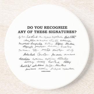¿Usted reconoce ninguno de estos firmas? Posavasos Cerveza