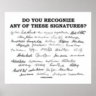 ¿Usted reconoce ninguno de estos firmas? Póster