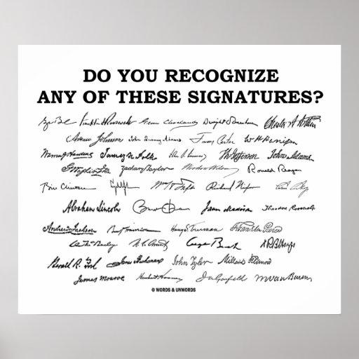 ¿Usted reconoce ninguno de estos firmas? Poster