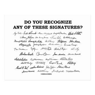 ¿Usted reconoce ninguno de estos firmas? Tarjetas Postales