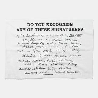 ¿Usted reconoce ninguno de estos firmas? Toallas