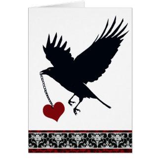 Usted robó mi cuervo del vuelo del corazón felicitacion
