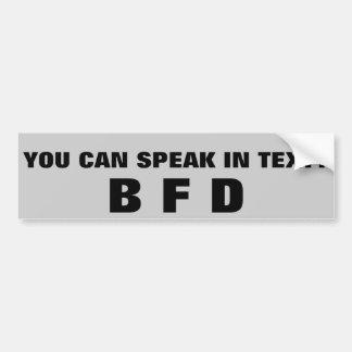 ¿Usted sabe hablar en texto? BFD Pegatina Para Auto