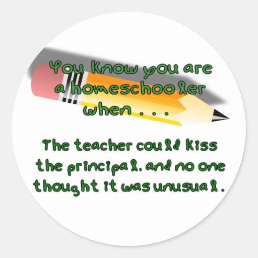 Usted sabe que usted es un homeschooler cuando… pegatina redonda
