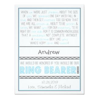 "Usted será mi azul cielo de Ringbearer/tarjeta Invitación 4.25"" X 5.5"""